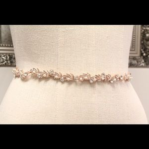 Crystal and Pearl Rose Gold Wedding Belt